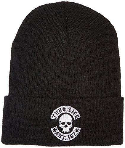 Thug Life Herren Skull Beanie Mütze, Black, One Size