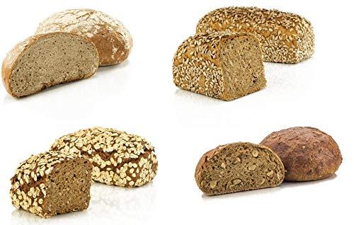 Vestakorn Handwerksbrot, Brot Auswahl - frisches Brot - 4 verschiedene Brote vom Handwerksbäcker zum selbst aufbacken in 10 Minuten