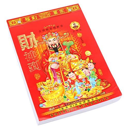 STOBOK Kalender, chinesischer Lann, 2021, 1 Stück, Mondkalender A4, Wandkalender, täglicher Kalender 2021, für Lann, individuelle Seite pro Tag