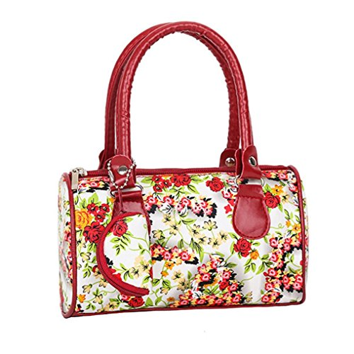 Beikoard Borsa a Tracolla Tote Ladies Handbag Ricamata a Spalla da Donna (Rosso)
