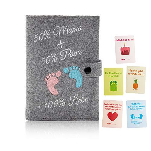 Little Moonshine Premium Mutterpasshülle aus reinem Filz (Hellgrau) - stylische und beständige Hülle für den Mutterpass - Platz für Bilder, Karten und Dokumente - Idealer Begleiter für Schwangere
