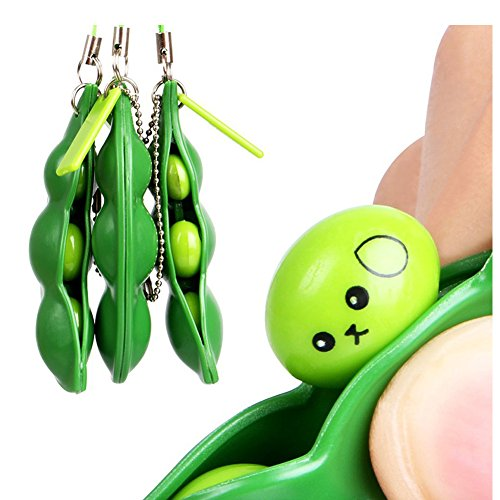 WHOISHE Fidget Toys, 3 Pack Squeeze-a-Bean Extrusion Bean Pea Soybean Stress Relieving Edamame Keychain Mobile Chain Gift for Adults and Children