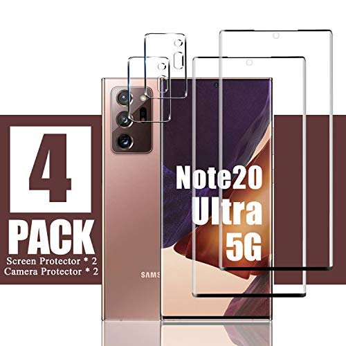 "[4 Pack] Galaxy Note 20 Ultra Screen Protector,2 Pack Screen Protector + 2 Pack Camera Lens Protector, [Full Covered] [9H Hardness] Tempered Glass for Samsung Galaxy Note 20 Ultra (6.9"")"
