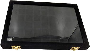 Bandeja de Jóias de Veludo Caixa com Fechadura Anel Armazenamento de Pedras Preciosas com Tampa de Vidro - Preto