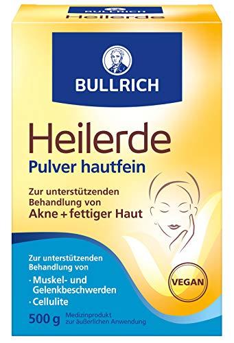 Bullrich Heilerde Pulver hautfein | Hilfe bei Akne fettiger und unreiner Haut Cellulite Muskel und Gelenkbeschwerden | zur äußeren Anwendung, 500 g