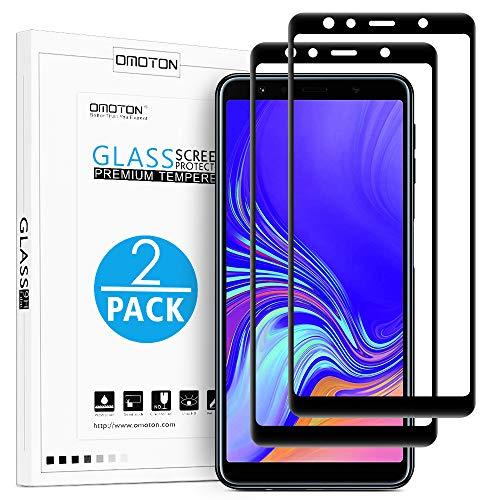 OMOTON [2 Stück] Panzerglas Schutzfolie für Samsung Galaxy A7 2018, volle Bedeckung, Anti- Kratzer, Bläschenfrei, 9H Härte, HD-Klar, [3D R&e Kante] (5,6 Zoll)-Schwarz
