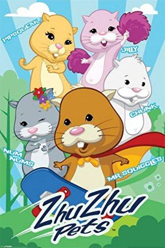 1art1 50221 Zhu Zhu Pets - Mr. Squiggles, Nums, Chunk, Jilly, Pipsqueak Poster 91 x 61 cm