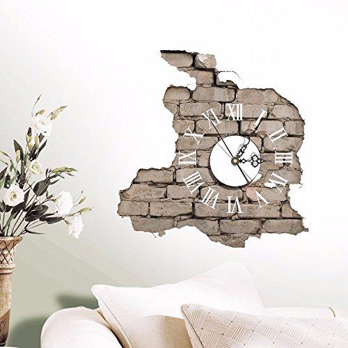 Bomeautify Wandtattoos Wandbilder Europäische moderne minimalistische Mode 3D Uhr Wohnzimmer Esszimmer Kunst stumme Bewegung Persönlichkeit Wand Aufkleber Uhr 38 * 39.2CM