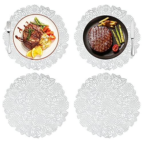 Hwtcjx sous assiette de table, dessous assiette, 4 pièces Napperons, Matériau PVC, antidérapant, isolation thermique, antisalissure, facile à nettoyer, pour cuisine, banquet (D: 38cm, argent, style D)