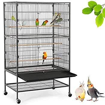 Yaheetech Grande Volière Cage à Oiseaux Design pour Perruche Perroquet avec Mangeoire Perchoirs roulettes 78,3 x 52 x 132 cm