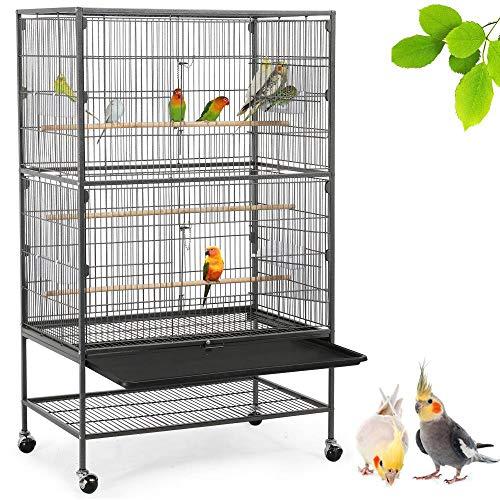 Yaheetech Gabbia Voliera per Pappagalli Uccelli Grandi Inseparabili Calopsite con Piedistallo Ruote in Metallo e Legno da Interno e Esterno...