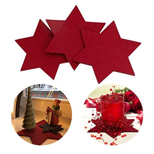 Oblique-Unique® Filzuntersetzer Sterne 4er Pack Glasuntersetzer Weinrot Ø 20cm für Tisch und Deko - Weihnachten