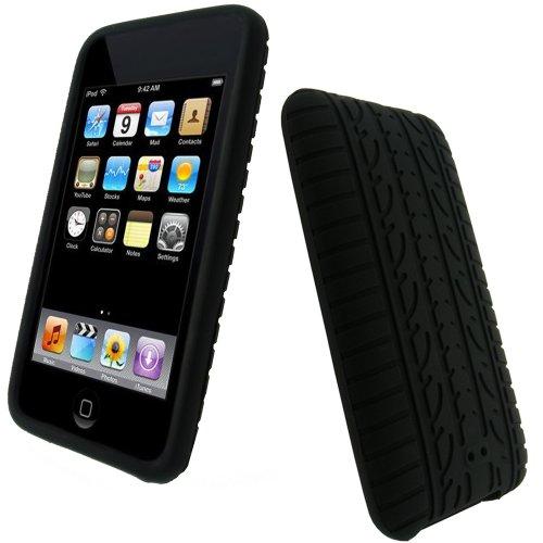 iGadgitz U0143 Silikon Hülle Schutzhülle Etui Case Tasche Reifenprofil-Design Kompatibel mit Apple iPod Touch 2. Generation mit Schutzfolie - Schwarz