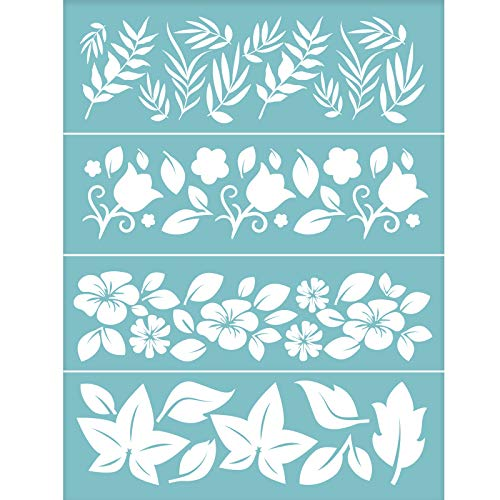 OLYCRAFT Plantilla Autoadhesiva para Serigrafía, Plantillas Reutilizables con Diseño de Flores Y Hojas para Pintar En Tela de Madera, Camisetas, Decoración de Paredes Y el Hogar, 11x8 Pulgada