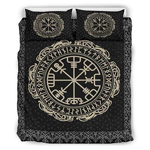 Juego de ropa de cama de 3 piezas, diseño vikingo, Vegvisir Dragones y runas escandinavas, con impresión cómoda, color blanco, 264 x 229 cm