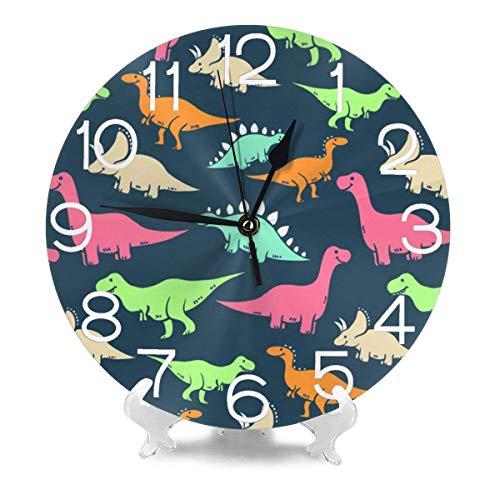 REAlCOOL Reloj de Pared Redondo de Dinosaurio Colorido, 9.9.84 Pulgadas de Cuarzo con Pilas, silencioso, fácil de Leer para la decoración de la Escuela, Oficina en casa