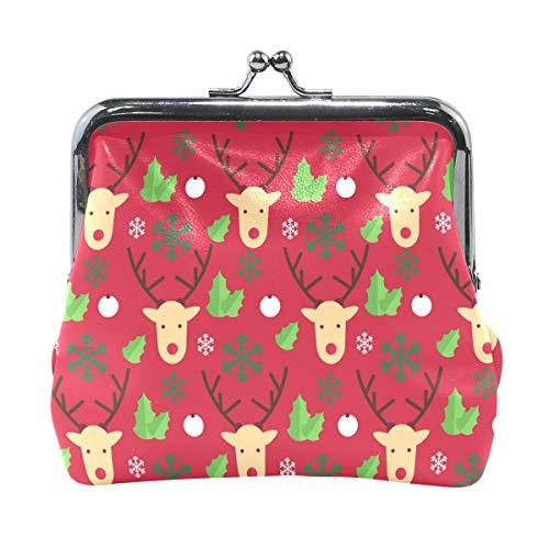 Bonipe Merry Christmas Hipster - Monedero de piel con diseño de ciervos hipster para mujeres y niñas