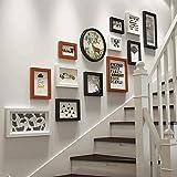 baozge - Juego de pared para fotos y marcos de madera maciza para pared con diseño de flores