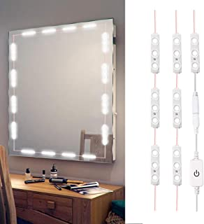 XYOP LED Vanity Mirror Lights Kit 3M 10Ft Ultra Bright White LED Lights Strip Dimmable Makeup Mirror Lights Waterproof LED Module Lights 6000K 1200LM Mirror Not Included