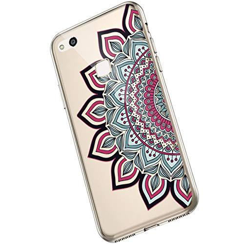 Saceebe Compatible avec Huawei P10 Lite Coque Fleur Mandala Clair Design Motif Silicone Transparent TPU Souple Housse de Protection Ultra Mince Slim Léger Antichoc Étui,Fleur Rouge