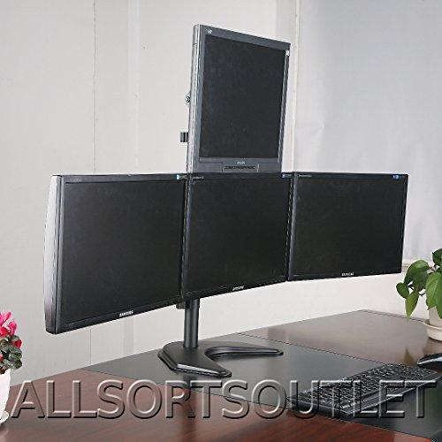 2017Quad cuádruple 4pirámide (3+ 1) LCD LED TFT Monitor del ordenador soporte de escritorio para pantalla plana–totalmente ajustable de pie Heavy Duty 3pantallas de 15'a 25'