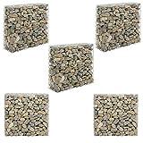 [pro.tec] Set de 5X Gavión 100 x 30 x 90 cm Cesta de Piedras Banco de jardín Valla Alambre galvanizado