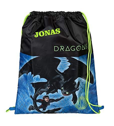 Turnbeutel mit Namen | Motiv Dragons Drachen in blau & schwarz | personalisiert & Bedruckt | Schuhbeutel Sportbeutel Jungen Kinder