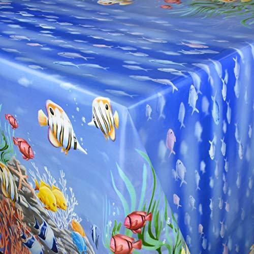 KEVKUS Wachstuch Tischdecke Meterware B2872-01 Bunte Fische Südsee Meer Korallen Bordürenmusterwählbar in eckig rund oval (Rand: Paspel (mit Kunststoffband), 120 x 140 cm eckig)