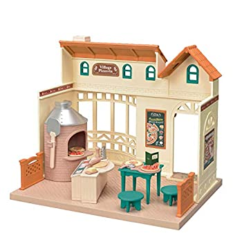 Calico Critters Village Pizzeria Dollhouse Playset Collectible Dollhouse Toy with Furniture and Accessories Included
