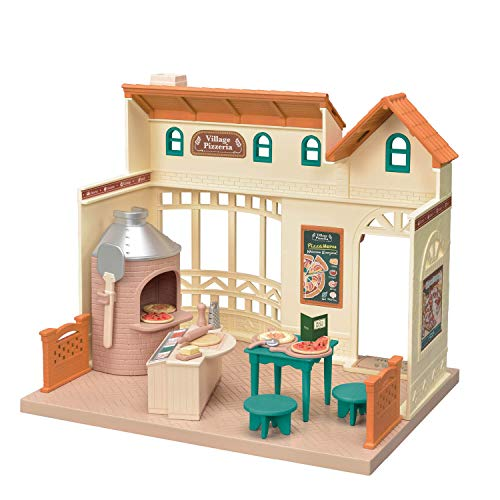 Calico Critters Village Pizzeria Dollhouse Playset, Collectible Dollhouse Toy with Furniture and Accessories Included