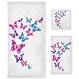 Naanle 3-Piece Towel Set,Retro Multicolored Butterflies Pattern Pink Blue Butterfly Design Bath Towel Sets, 1 Bath Towel, 1 Hand Towel, 1 Washcloth, Absorbent Soft Towels Quick Drying for Bathroom