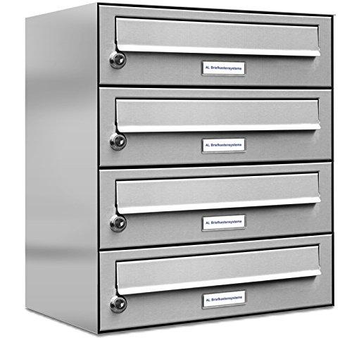 AL Briefkastensysteme 4er Briefkastenanlage Edelstahl, Premium Briefkasten DIN A4, 4 Fach Postkasten modern Aufputz