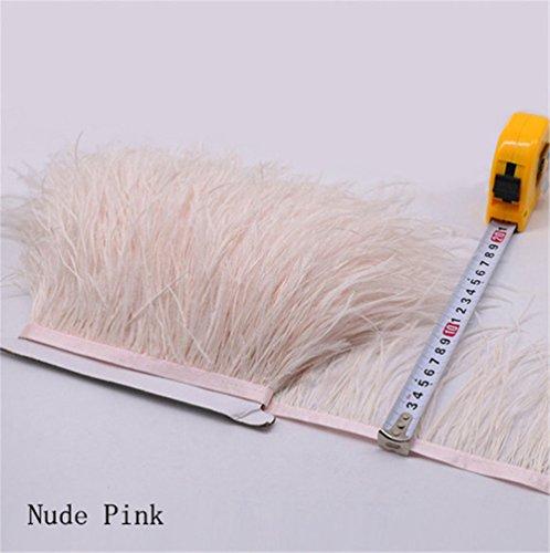 Flecos de plumas de avestruz de 34 colores para hacer sombreros o vestidos Nude Pink
