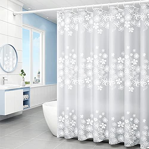 Duschvorhang,180x200cm Duschvorhang Anti-Schimmel,Anti-Bakteriell Badewanne Vorhang,Shower Curtains Halbtransparent,Wasserdichter Badezimmervorhang,mit 12 Duschvorhängeringen