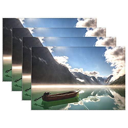VinMea Platzsets für Esstisch Wolken - Norwegen-Gebirge Reflektierung-Ruhig-Nachmittag-Pacific-Boat-Fjord-Waters Platzmatte Hitzebeständig rutschfest für Esstisch 6er Set