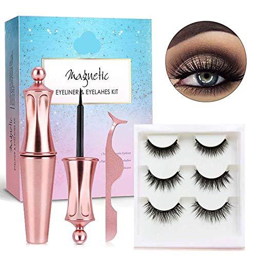 GsMeety Magnetische Wimpern mit Eyeliner Set, Erweiterte Künstliche Wimpern Natürlich mit 5 Magnet, Wiederverwendbares magnetisches Wimpernset mit Free Tweezer (3 Paare)