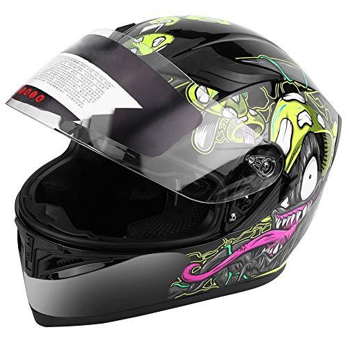 Universal Motorradhelm, Full Face Scooter-Helm Adult Fahrradhelm Unisex Schutzhelm, mit Doppellinsen, Antibeschlag, UV400-Schutz (XXL 63-64 cm)