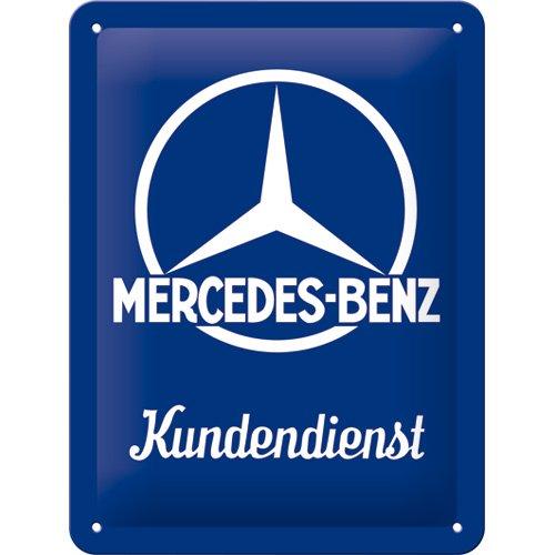Nostalgic-Art Mercedes-Benz – Kundendienst – Geschenk-Idee für Auto Accessoires Fans Retro Blechschild, aus Metall, Vintage-Dekoration, 15 x 20 cm