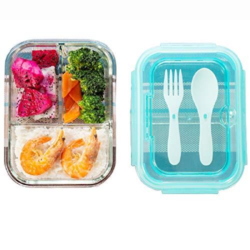 Chew recipientes para Alimentos,tapers de Cristal,diseño de Tres Compartimentos,fácil de Limpiar,Buen Sellado,apilable,Puede...