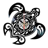 Turtle Clock - Vinyl Record Wall Art - Hawaiian Decorations - Turtle Gifts
