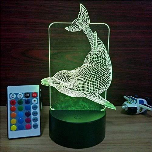 Niedlicher Delphin 3D LED Nachtlicht USB-Birne Figur Schlafzimmer Schlaflicht USB Base Boy Kinder Weihnachtsgeschenk Spielzeug 7 Farbwechsel