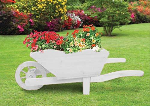 groundlevel Farmyard Wooden Wheel Barrow Planter/Flower Pot - Vintage White Wood