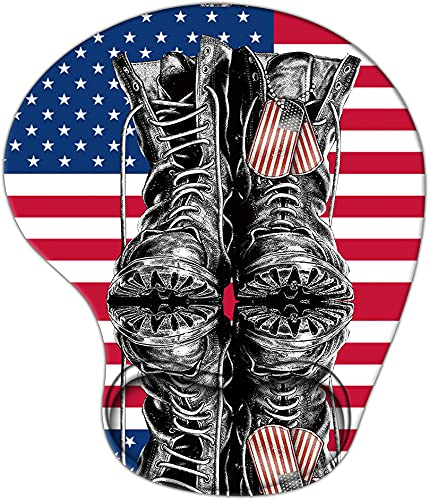 Creative Mouse Pad with Wrist Support, Ergonomic Gaming Mousepad Non-Slip Soft Sensitive Material, American Flag Army Boots Pattern Mouse Pads as Home Office Desktop Accessories or Ideal Gift