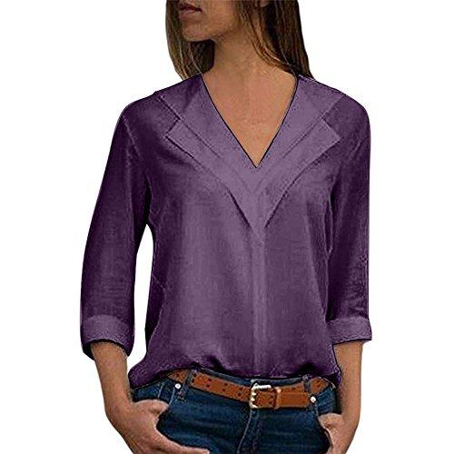 SHOBDW Camisa de Cuello en v Gasa sólida de Las Mujeres Camisa de Trabajo de Las señoras de la Oficina Blusa Tops de Manga Larga de otoño Invierno(Púrpura,S)