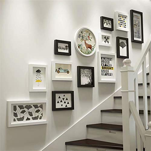 XINGXISHI Fotorahmen-Collage Set 13-TLG. Wandrahmen, Massivholz-Kombination Bilderrahmen Wand, kreative Hintergrund-Wanddekoration für Treppen (Farbe : Schwarz + Weiß) XXS8144