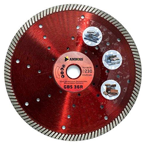 Amboss GBS 36R - Diamant-Trennscheibe Ø 300 mm x 25,4 mm - Granit / Naturstein / Baumaterialien / Betonprodukte / Stahlbeton | Segmenthöhe: 10,5 mm (gesintert)