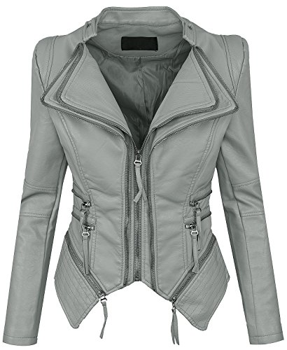 Rock Creek Selection Damen Kunstleder Jacke Übergangs D-305 [WS-901 Grau L]