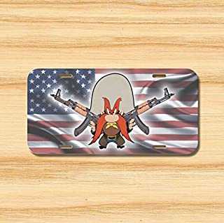 Yilooom Yosemite Sam License Plate Vehicle Auto Rifle Second Amendment USA Flag Ak-47 Novelty Accessories License Plate Art