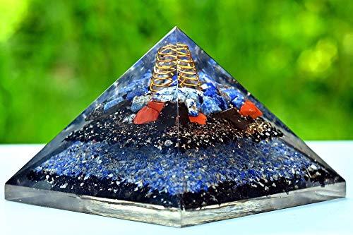 Wholesalegemshop New Orgone Pyramid   Lapis Lazuli   Red Jasper   Shungite   Black Tourmaline Orgone Pyramid for EMF Protection From India.