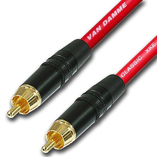 Design-acable RCA-kabel, verguld Van-Damme kwaliteit, niet-symmetrische instrumentenkabel (4m), rood